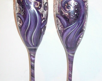 Ocean Waves Deep Dark Purples and Light Purples and silver Accents 2- 6 oz. Hand Painted Wedding Champagne Toasting Flutes Anniversary