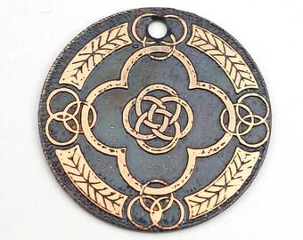 Celtic pendant, round flat etched copper focal point, Celt knots, 28mm