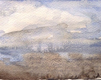 Abstract Landscape Painting, Watercolour Postcard, Storm Sky, Sea, Sky, Clouds