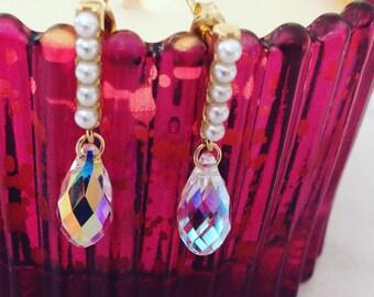 White pearls earrings with Briolette Swarovski