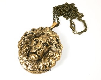 Antique Gold Lion Head Inlaid in Oxidized Gold Large Pill Box Locket Leo Necklace Steampunk  45mm x 35mm Pendant
