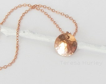 Rose Gold Necklace, Hammered Disc Necklace, Dainty Gold Necklace