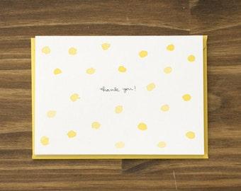 polka dot yellow thank you blank card