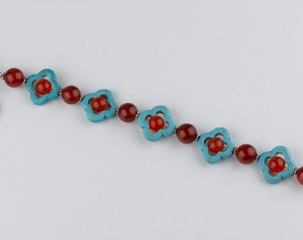 Turquoise and Red Agate Bracelet