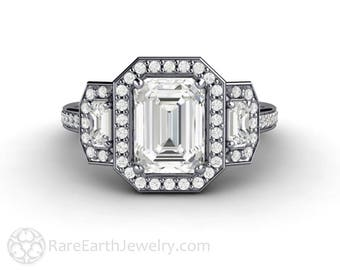 Moissanite Engagement Ring Emerald Cut 3 Stone Forever One Three Stone Moissy Ring in 14K 18K Gold and Platinum