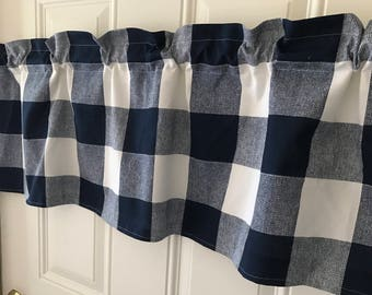 Navy blue and white buffalo check large print Curtain Valance