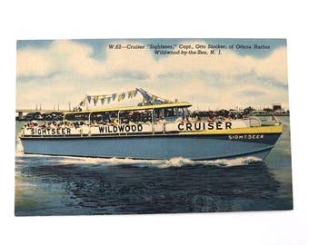 Wildwood NJ Postcard - Vintage Original Linen Sightseeing Wildwood Cruiser Boat New Jersey - NJ Shore - Wildwood by the Sea - Cape May