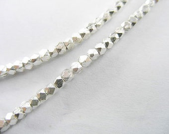 "75 of Karen Hill Tribe Silver Faceted Beads 2mm. 6.5 "" :ka2572"