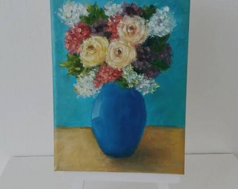 Vase of flowers mini oil painting