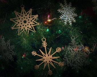 """16 Stars & Snowflakes -- 5"""" (size adjustable) Christmas Ornament Designs,  Digital Patterns for a Laser to Cut from wood, MDF, or Acrylic."""