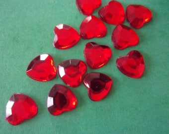 Rhinestones in the shape of red heart acrylic paste - 8mm