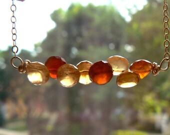 Garnet gemstone bar necklace- Hessonite garnet gold filled necklace- Wire wrapped bar boho pendant- Dainty gemstone women necklace gift