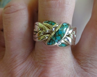 6 Band Puzzle Ring with Turquoise Sizes 9.0 -13