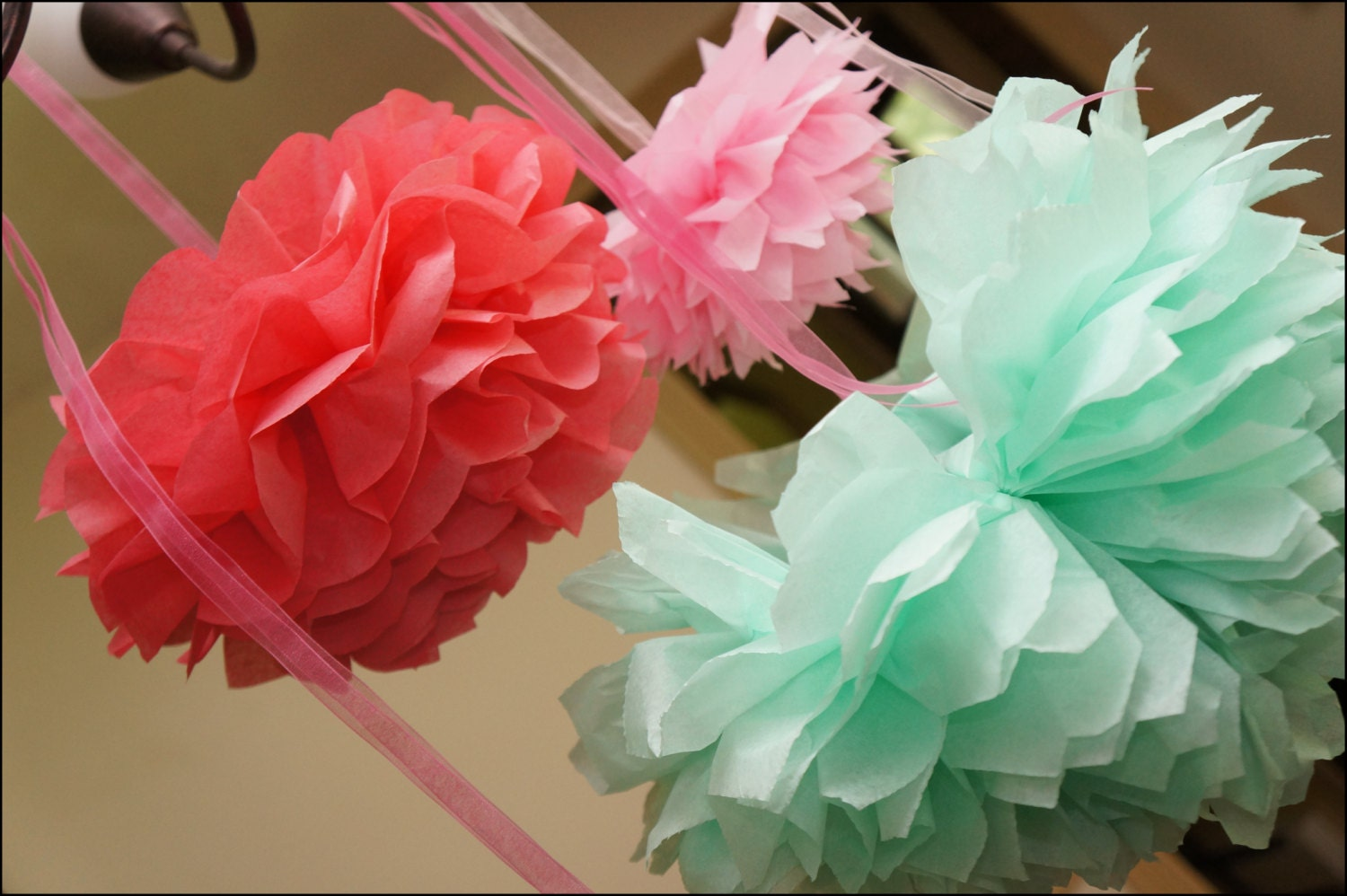 Tissue Paper Poms 95 Inch With Organza Ribbon For Hanging