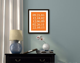 Numbers Art Print - Personalized Anniversary Gift - Important Family Dates - Numbers  - Modern Wall Art - Tangerine Orange