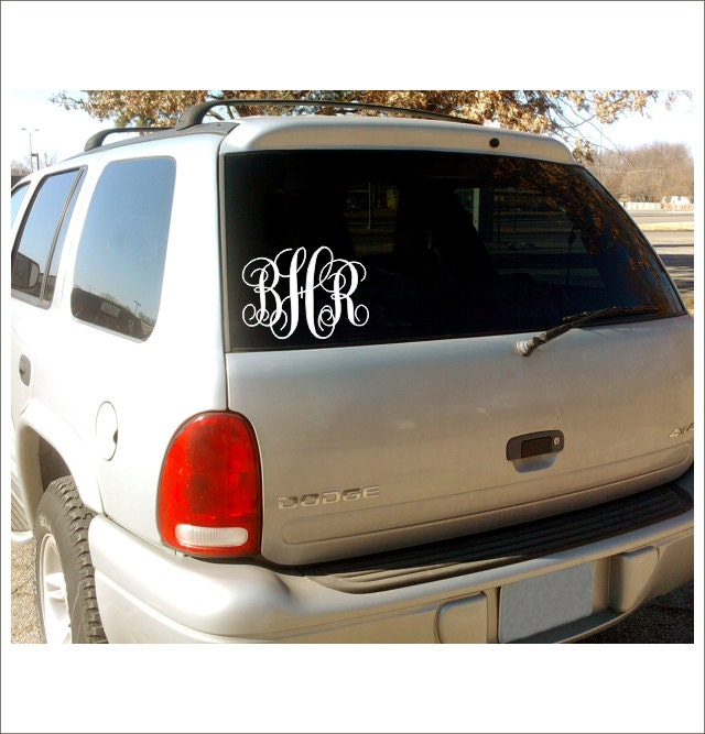 Vine Monogram Car Window Decal Personalized Custom Vinyl Decal - Custom car window decals stickers