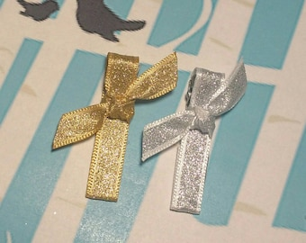 Knotty Hair Clips - Partially Lined Alligator Clips - Sparkle Silver and Gold Barrettes - Shimmer Colored Clippies - Set of 2
