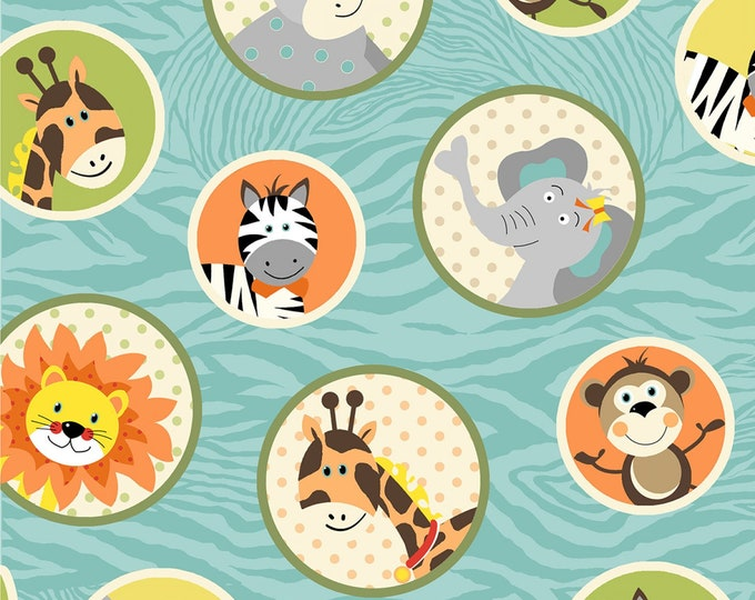 BUNGLE JUNGLE ANIMALS, Children's Cotton Fabric 44 Inches Wide by Henry Glass