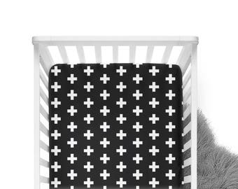 Fitted Crib Sheet Black with White Plus Sign- ModFox Exclusive- Black Crib Sheet- Plus Sign Crib Sheet- Cross Crib Sheet- Monochrome Bedding