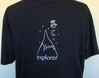 Explorer Mens Tshirt-Unisex Tee-Black Tshirt-Adventure Tshirt-Gift for Him-Mountain Shirt-Astronaut Tshirt-Screenprint Tshirt-Explorer