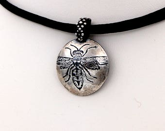 Wasp Choker Necklace, Insect Jewelry, Sterling Silver Wasp Necklace, Insect Choker, Silver Insect Necklace, Wasp Jewelry, Entomology Gift