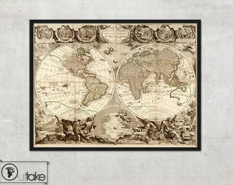 Large world map, wall map,Vintage world map, fine art, giclee print - interior map design - 115