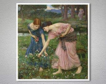 Gather Ye Rosebuds While Ye May by John William Waterhouse - Poster Paper, Sticker or Canvas Print / Gift Idea