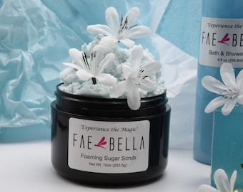 Foaming Sugar Scrub in the Jasmine scent.   Handcrafted by Fae Bella.
