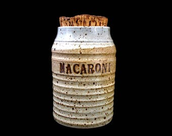 Vintage Pottery Jar with Cork Lid Earthenware Pasta Canister Macaroni - Ron Labaire Pottery