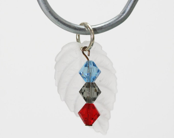 White Lucite Ivy Leaf with Blue, Brown, and Red Swarovski Crystal Dangle Necklace Pendant, Nature Leaf Pendant, Crystal Leaf Pendant