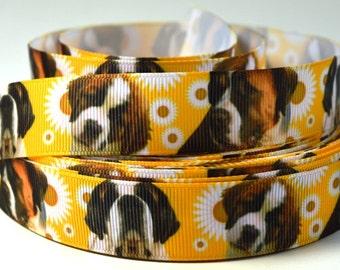 "7/8"" St. Bernard Dog - Printed Grosgrain Ribbon"
