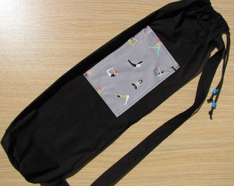 Black Yoga Mat Bag With Yoga Pose Pocket