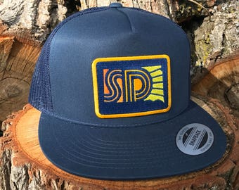 South Dakota Flat Bill Cap - Navy SD Sunny Retro Flat Bill Snapback Hat - South Dakota Hat - SD Navy Sunset Patch Flat Bill Oh Geez! Design