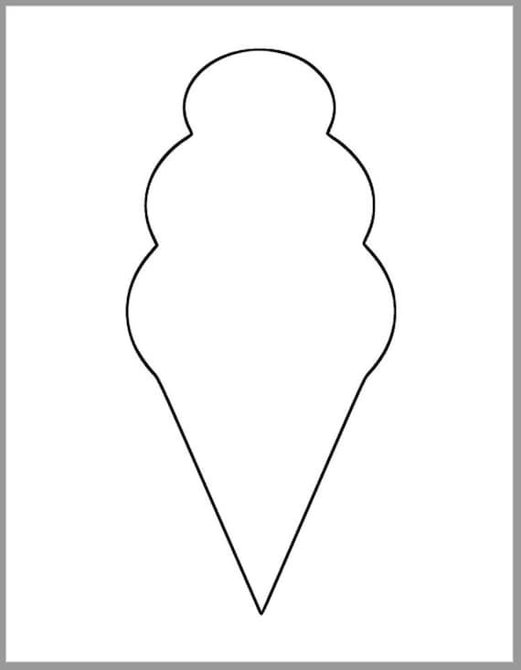 9.5 inch Ice Cream Cone Template-Printable Ice Cream Cutout-Birthday ...