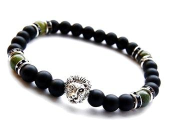 Onyx Bracelet, Mens Bracelet, Men's Black Onyx Bracelet, Lion Bracelet,Beaded Bracelet,Nephrite Bracelet,Bracelet for Men,Mens Onyx Bracelet