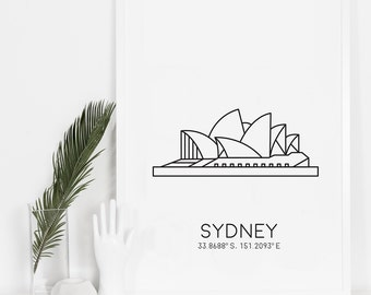 Sydney Print, Wall Hanging, Wanderlust Print, Travel Wall Art, Bedroom Decor, Printable Art, World Landmark, Best Selling Items