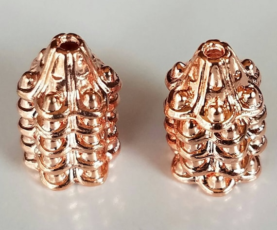 Rose Gold Plated Bead Caps Set Of 10 Bead Caps Supplies