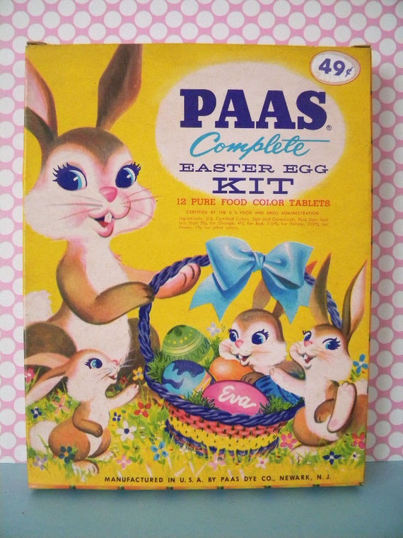 Large Vintage Paas Easter Egg Dye Kit with Decals Stickers Egg ...