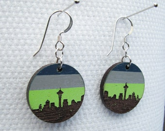 Seattle Skyline Earrings, Small Circle Blue and Green