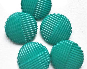 large eco friendly teal blue shank buttons with ribbed textured design--matching lot of 5