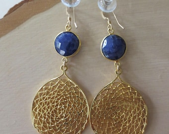 Lapis gold dangle earrings, blue lapis gold earrings, lapis drop earrings