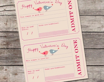 Printable Valentine's Day Coupons / Valentines Day Gift for Him, Her, Kids / Romantic Love Vouchers / Printable Coupons // Instant Download