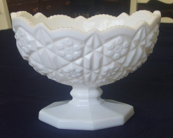 Vintage, Oval Milk Glass, Pedestal Bowl.
