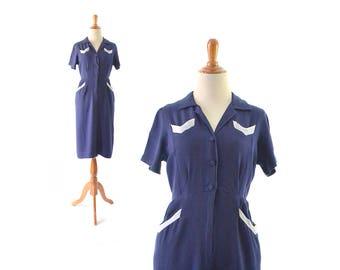 1930s dress, 30s dress,sailor dress, nautical dress, small dress, vintage clothing, vintage dress, day dress, vintage 1940s dress, 40s dress