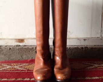 Leather knee high brown vintage boots