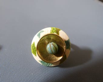 Ring button wood & beads