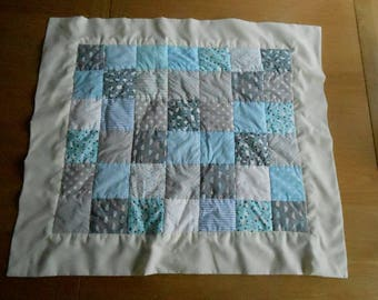 Patchwork Baby Blanket in Blue and Grey