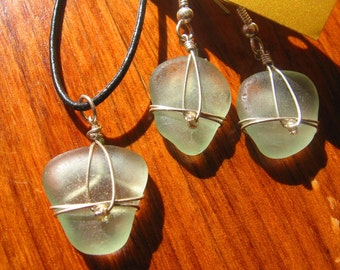 Sweet and Simple Sea Foam Green Lake Superior Beach Glass Pendant Necklace and earrings