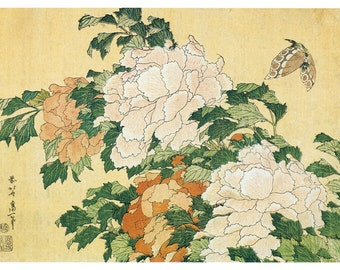 Hand-cut wooden jigsaw puzzle. PEONIES & BUTTERFLY. Hokusai. Japanese woodblock print. Wood, collectible. Bella Puzzles.