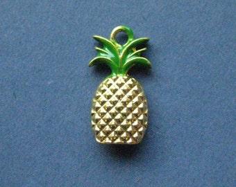 5 Pineapple Charms - Pineapple Pendants - Pineapple - Fruit Charm - Enamel Charm - Bright Gold- 20mm x 11mm  -- (No.19-10891)